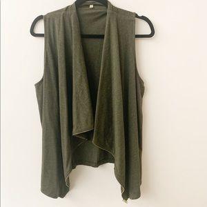 J. Crew Olive Green Zip Up Vest Tunic Sz M